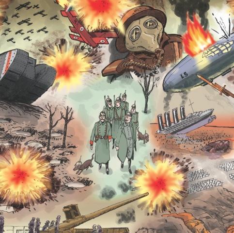"""uitsnede uit het stripboek """"De keizer die zijn land ontvluchtte"""""""