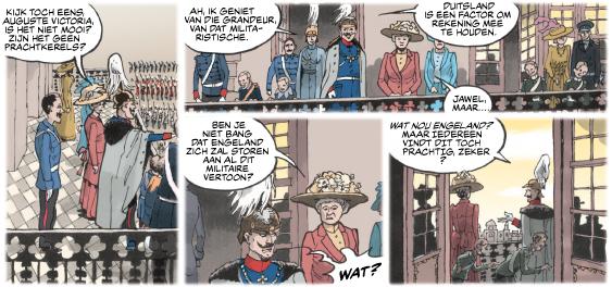 Uitsnede uit pagina 11 uit stripboek over keizer Wilhelm II
