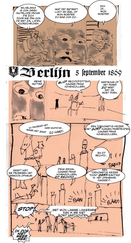 Pagina uit story-board stripboek over keizer Wilhelm II
