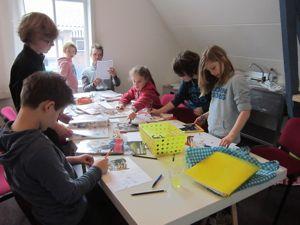 Foto van een workshop striptekenen
